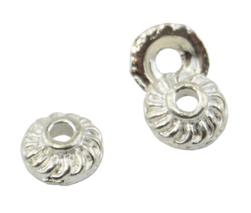 8-163 50 Petite Metal Bead Cap Silver Plated Jewellery Finding 7.5x3mm