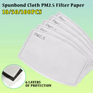 10-100Pcs PM2.5 Activated Carbon Filter Replacement 6 Layers For Adult//Child Lot