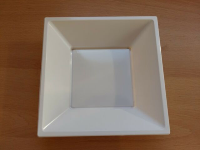 "10 x White 7"" 18cm Square Disposable Plastic Bowls Party Wedding Buffet BBQ"