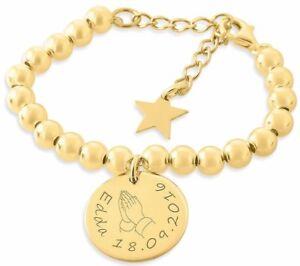Details Zu Armband Zur Taufe Kinderschmuck Vergoldet Armband Mit Gravur
