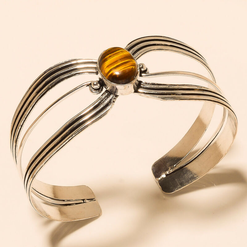 Silver Overlay Cuff Bracelet Bangel Tiger Eye Jewelry