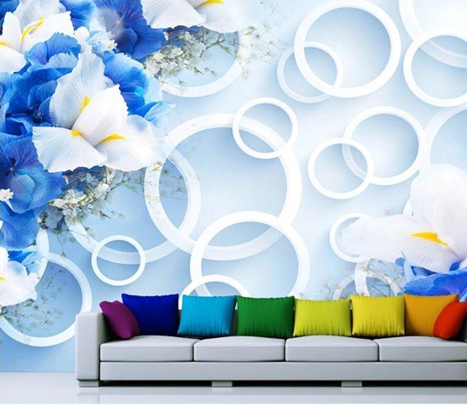 3D blueen bluemen, Kreis 45 Fototapeten Wandbild Fototapete BildTapete Familie DE
