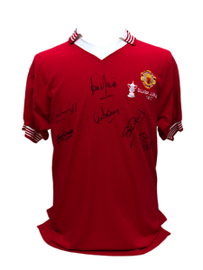 MANCHESTER UNITED 1977 FA CUP FINAL FOOTBALL SHIRT SIGNED BY 6 PROOF ... 2bb158309