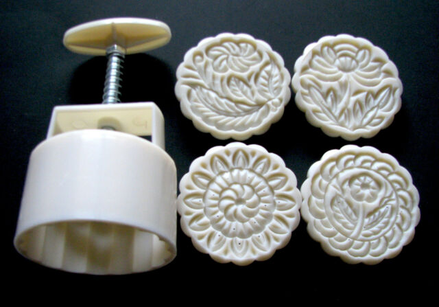 b92dc7b21 Moon Cake Mooncake Mold Mould Set With 4 STAMPS 125g Round for sale ...