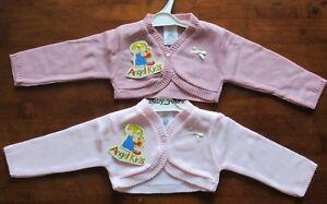 8ee2e913e baby girls knitted bolero shrug cardigan spanish knit white pink bow ...