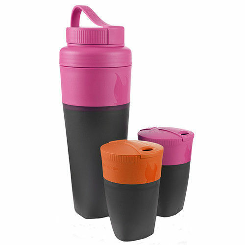 Light My Fire Pack Up Boisson Kit Fuchsia & Orange-Voyage Bouteille & 2 tasses