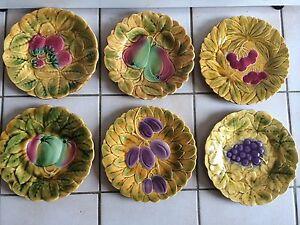 assiette de decoration 6 anciennes assiettes barbotine sarreguemines d cor de