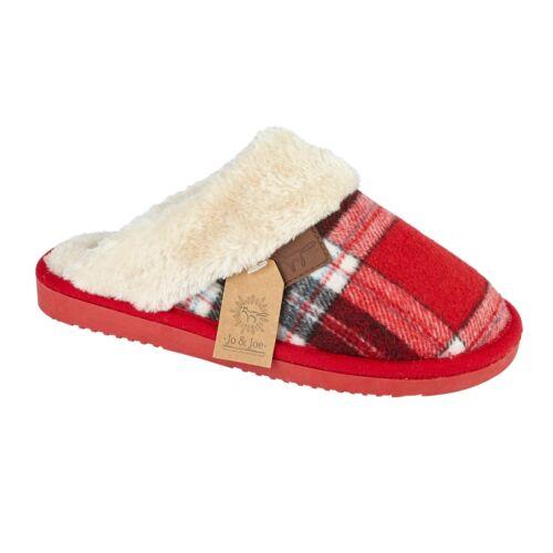 Ladies Womens Warm Fur Lined Winter Mule Slipper Tartan Faux  Collar UK Size 3-8