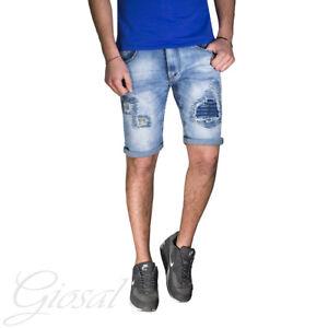 Radient Pantalone Uomo Corto Bermuda Jeans Denim Toppe Rotture Stracciato Giosal Pas De Frais à Tout Prix