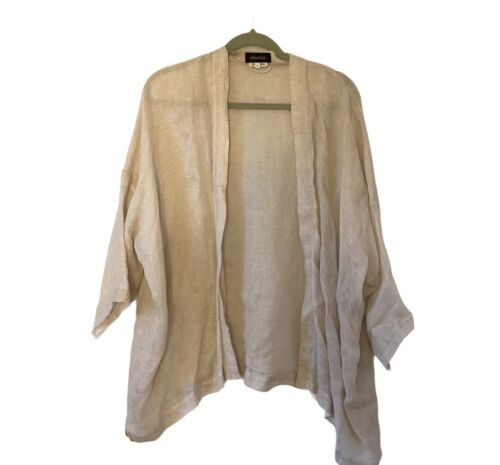 eskandar beige linen open cardigan 0