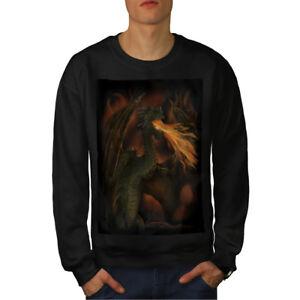 Sudadera Fantasy Hombre Spit Dragon Fire Negro Nuevo WOqxTqHwaZ