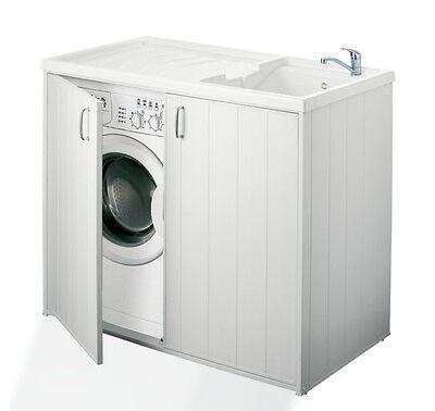 Mobile coprilavatrice universale con lavatoio 109 cm in resina interno o esterno