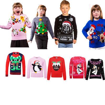 Kids Unisex retro novelity Christmas Jumper Boys Girls Christmas Knitted Top