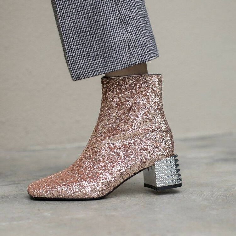 Fashion Women's Round Toe Block Heels Ankle Boots Rhinestone Sequins Shoes size