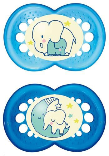 MAM 110511 Night Latex Soothers For Boys Age 6-16 Months Twin Pack Assorted BPA