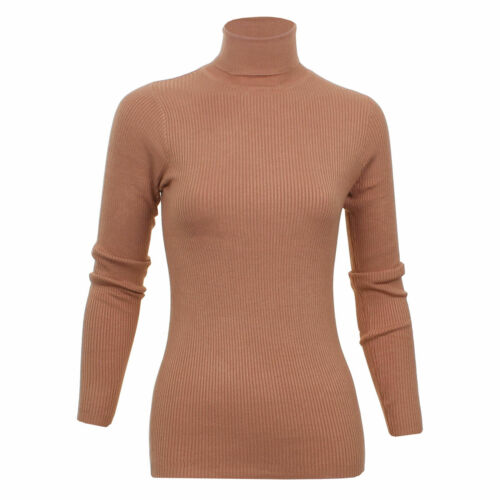Ladies Roll Neck Polo Jumper Sweater Soft Light Knit Ribbed Top Brave Soul XS-L