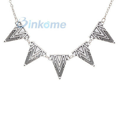 Retro Ladies Week Women Silver Tone Metal Triangle Carved Pendant Chain Necklace