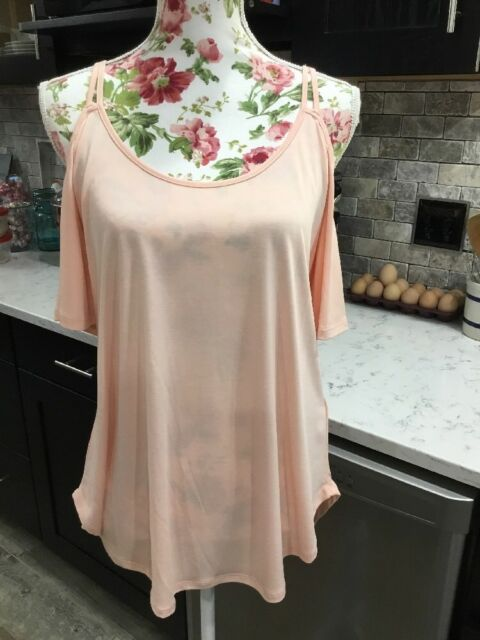 "72414485419 Jessica Simpson ""Peachy Keen"" Cold Shoulder Knit Top Blouse Sz Med New  $49.50"