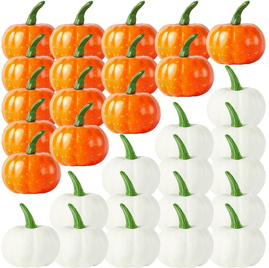 12PC Espuma Mini calabazas Naranja/Blanco Otoño Otoño Decoración de Halloween Falso