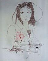 HEINE*Lithographie*Original*1980*Weiblich*Geige*Modell*Charme*Sammler*Rar*Kunst