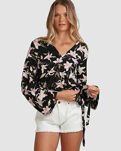 RRP $69.99 Size 12 Billabong Sunseeker Cropped White Peasant Shirt Top NWT