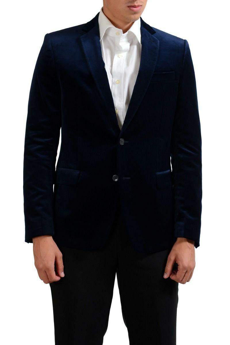 Versace Collection Navy Two Button Men's Velour Blazer Sz 36 38 40 42 44 46 48