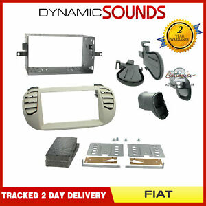 CT23FT14 Car Double Din Fascia Plate Ivory for Fiat 500 Air Con 2007-2015