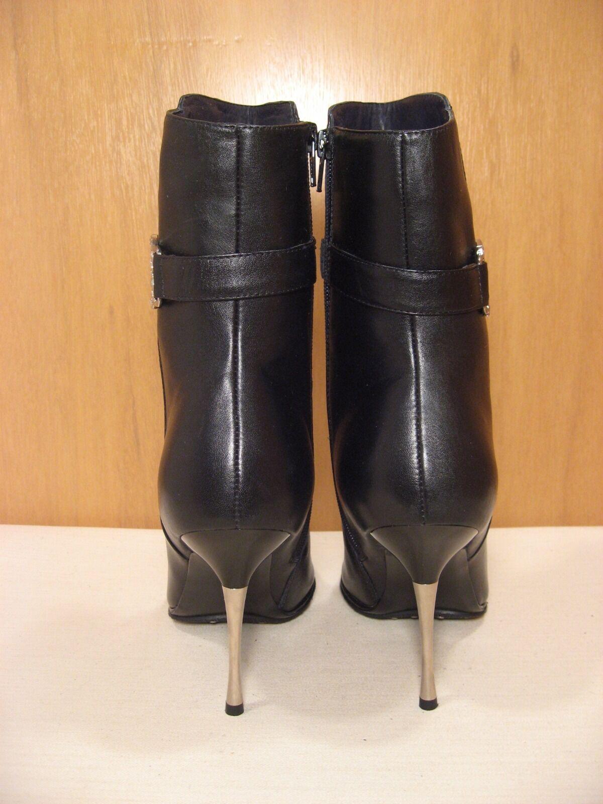 Laura Biagiotti Italia tobillo-tamaño Cuero Negro botas al tobillo-tamaño Italia 39 o 9 0d6909