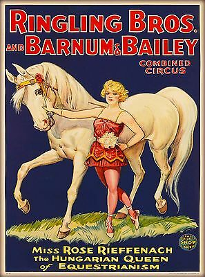 1930s Barnum & Bailey Hungarian Queen Vintage Circus Travel Art Poster Print