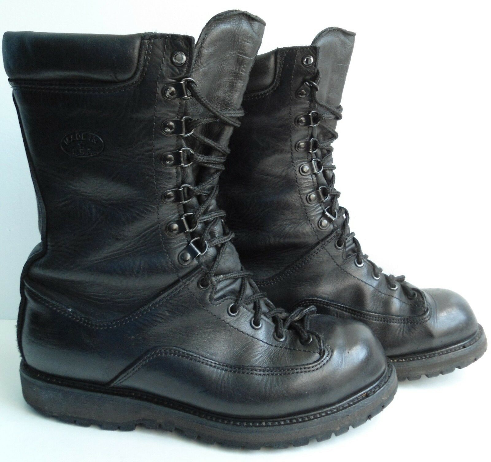 Matterhorn 1949 Black Leather Insulated Military Boots P14005 Men's Sz 9.5 M