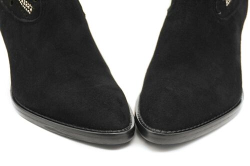 Cowboy With Boots And Toe Pattern Mid Suede Elegant Pointed Jeweled Calf Black SqBqOrRUw