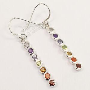 Healing-Chakra-925-Sterling-Silver-Lovely-Earrings-Natural-MULTI-COLOR-Gemstones
