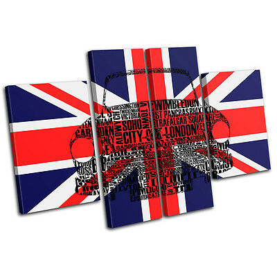 City London Union Jack Mini City MULTI CANVAS WALL ART Picture Print VA