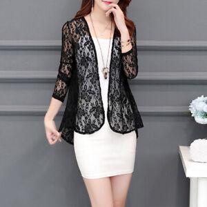 Ladies-Women-Sheer-Open-Front-Cardigan-Jacket-Formal-Suit-Blazer-Lace-Short-Coat