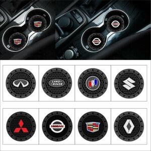 2pcs//set 72mm//2.83 inch Car Logo Cup Holder Silicone Coaster Anti-slip Mat Pad