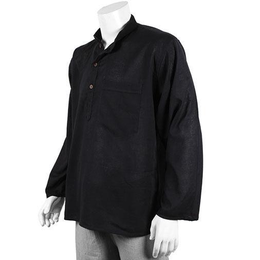 Brillant Commerce Équitable Plain Noir Grandad 100% Coton M L Xl Xxl Xxxl Smart Hippy Neuf Haute Qualité
