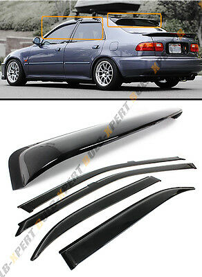FOR 92-95 HONDA CIVIC 4DR SEDAN EG EH REAR ROOF WINDOW + SMOKE DOOR VISOR COMBO