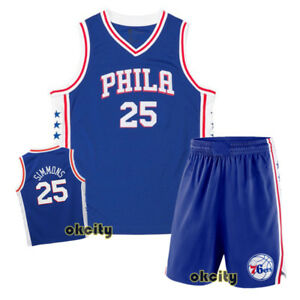 buy popular 34012 19580 Details about Top & Shorts Ben Simmons 25 Philadelphia Sixers 76ers Youth  Child Kid Jersey Set