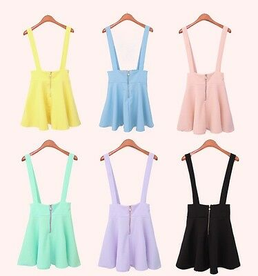 New style large size fluorescence color straps high waist suspender skirt