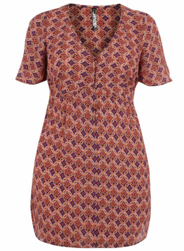 EVANS Tile Print Crepe Sleeve Top//Dress  30  Multi