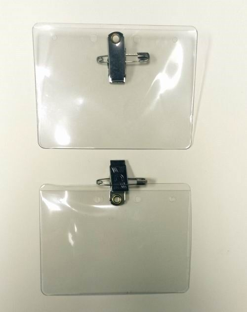 Lot of 1,000 Pieces Clear Vinyl ID Badge Holder with Safety Pin + Free Shipping