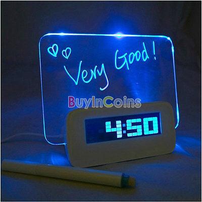 Portable Digital Calendar Fluoresce Message Board USB Blue LED Light Alarm Clock