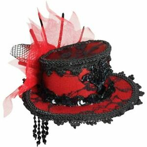 Mini Lace Fancy Red Hat Burlesque Gothic Vampire Hat With Hair Clips