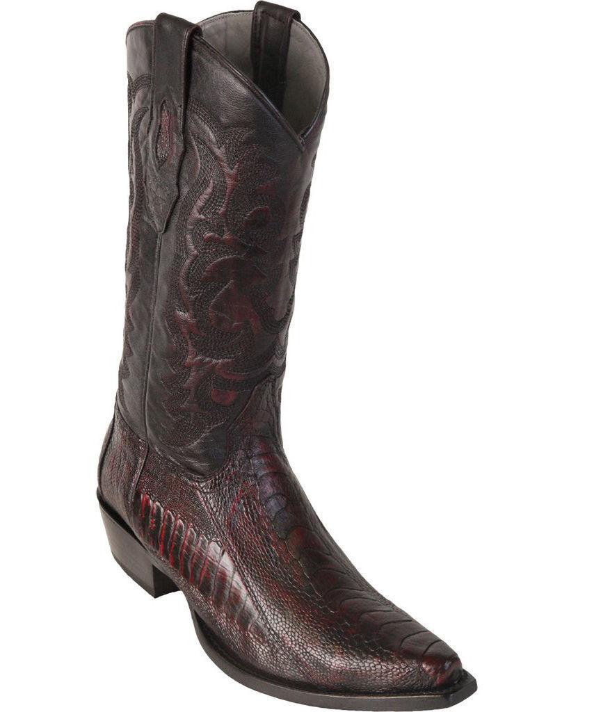 LOS ALTOS CHERRY GENUINE SNIP TOE OSTRICH LEG WESTERN COWBOY BOOT (D)