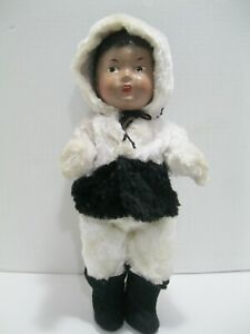 Vintage-Reliable-Toys-Canada-Composition-Eskimo-Inuit-Doll-with-Clothing-1939