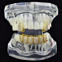 18k Gold Plated Grillz Combo Cz Set 2 Single Caps + 1 Lower Six Teeth Micro Pave