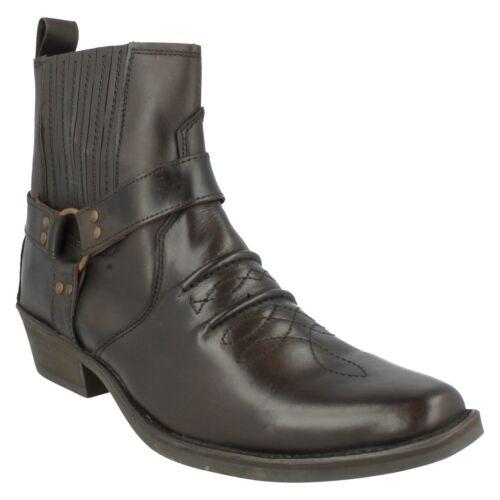Hommes Noir//Marron//Marron Foncé En Cuir Maverick Cowboy Cheville Bottes A3R003