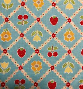 Riley Blake Bake Sale Fabric C3432 Blue 100/% Cotton Heart Floral Strawberry