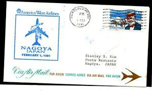 America West Airlines Flight Cover FFC Nagoya Japan - Honolulu Signed Pilot & FE