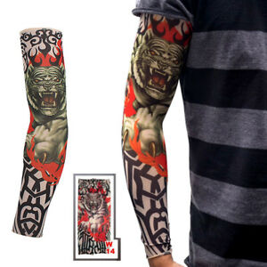 Tiger & Flame Elastic Nylon Temporary Fake Tattoo Sleeves Mens Women ...